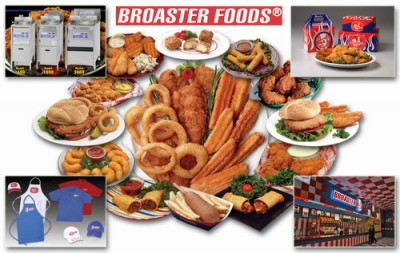 Концепция куриного фаст-фуда. Broaster foods - приготовление продуктов во фритюрницах под давлением.